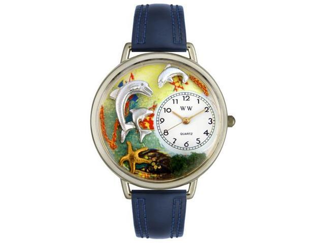 Whimsical Watches U0140004 Dolphin Navy Blue Leather And Silvertone Watch