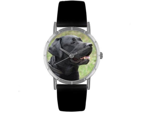 Black Labrador Retriever Black Leather And Silvertone Photo Watch #R0130082