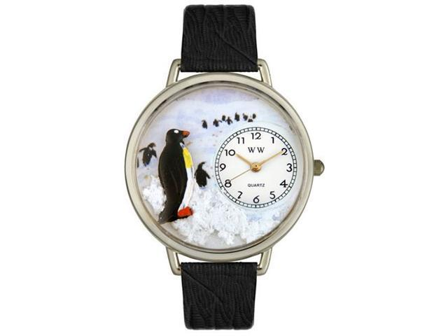 Whimsical Watches U0140006 Penguin Black Skin Leather And Silvertone Watch