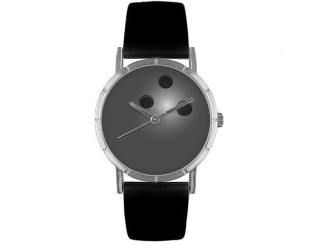 Bowling Lover Black Leather And Silvertone Photo Watch #R0840013