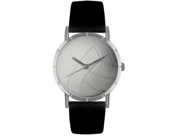 Volleyball Lover Black Leather And Silvertone Photo Watch #R0840015