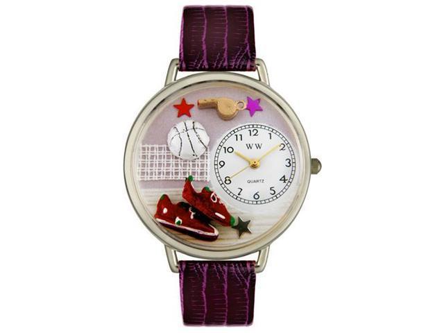 Volleyball Purple Leather And Silvertone Watch #U0820013