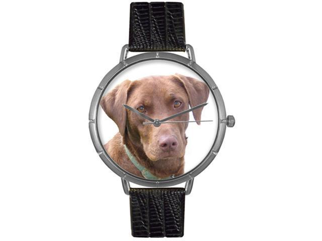 Chocolate Labrador Retriever Black Leather And Silvertone Photo Watch #T0130011