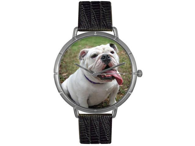 Bulldog Black Leather And Silvertone Photo Watch #T0130018