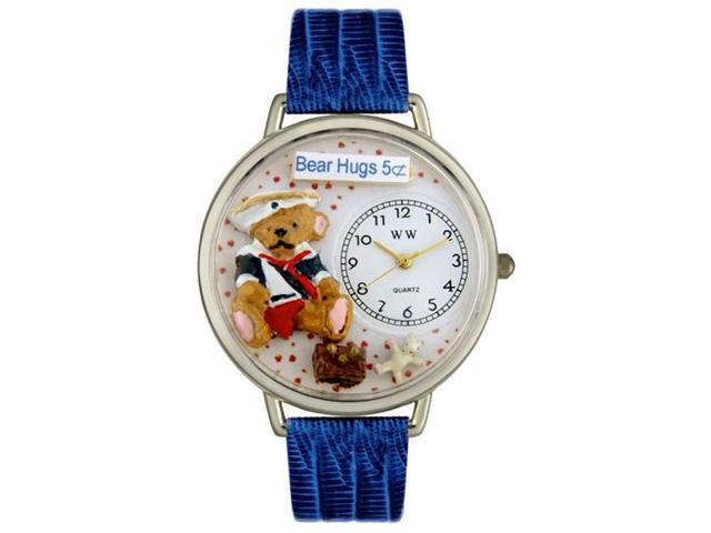 Whimsical Watches U0230002 Teddy Bear Hugs Royal Blue Leather And Silvertone Watch
