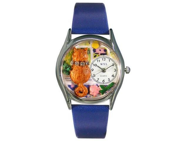 Whimsical Watches S0120007 Aristo Cat Royal Blue Leather And Silvertone Watch