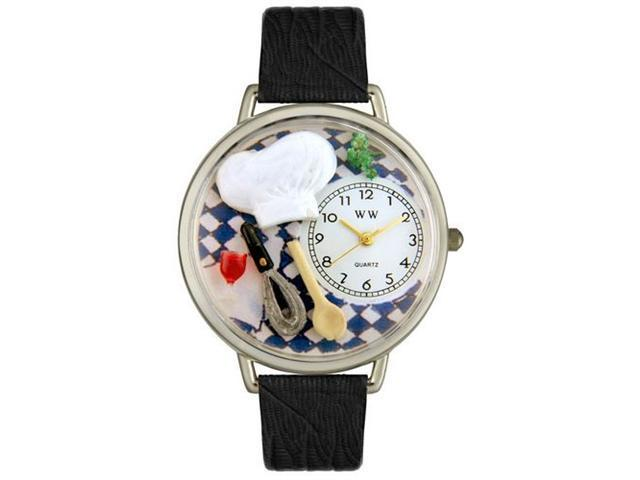 Whimsical Watches U0310002 Chef Black Skin Leather And Silvertone Watch