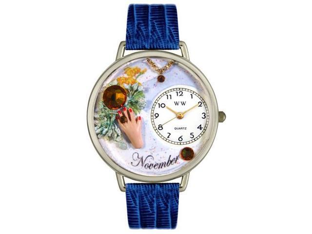 Birthstone: November Royal Blue Leather And Silvertone Watch #U0910011