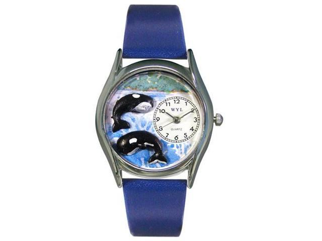 Whimsical Watches S0140001 Whales Royal Blue Leather And Silvertone Watch