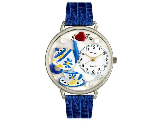 Whimsical Watches U0310009 Tea Lover Royal Blue Leather And Silvertone Watch