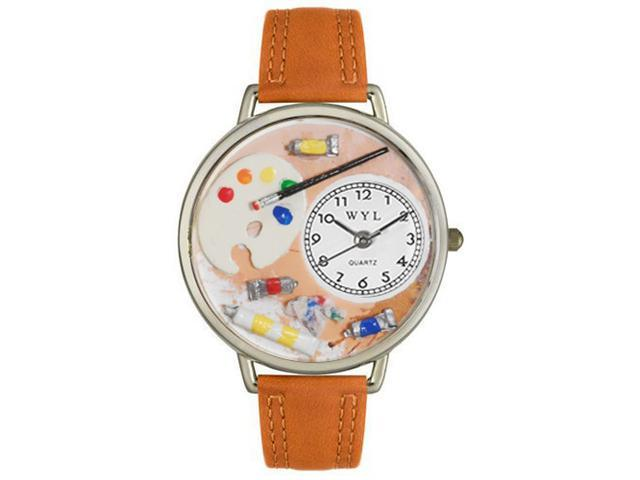 Whimsical Watches U0410002 Artist Tan Leather And Silvertone Watch