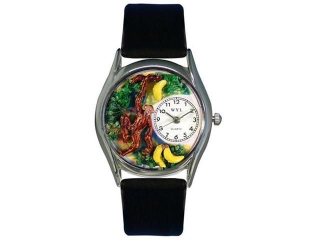 Whimsical Watches S0150007 Monkey Black Leather And Silvertone Watch