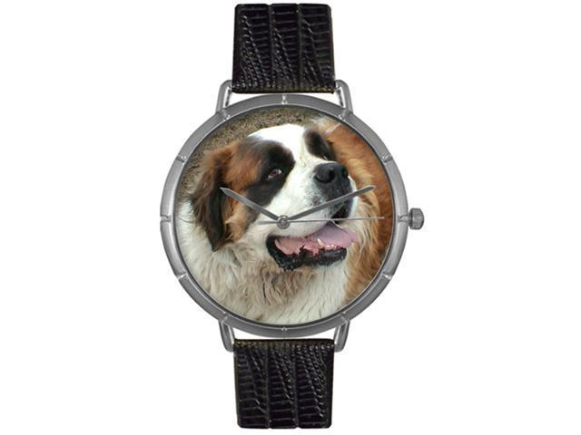 Saint Bernard Black Leather And Silvertone Photo Watch #T0130070