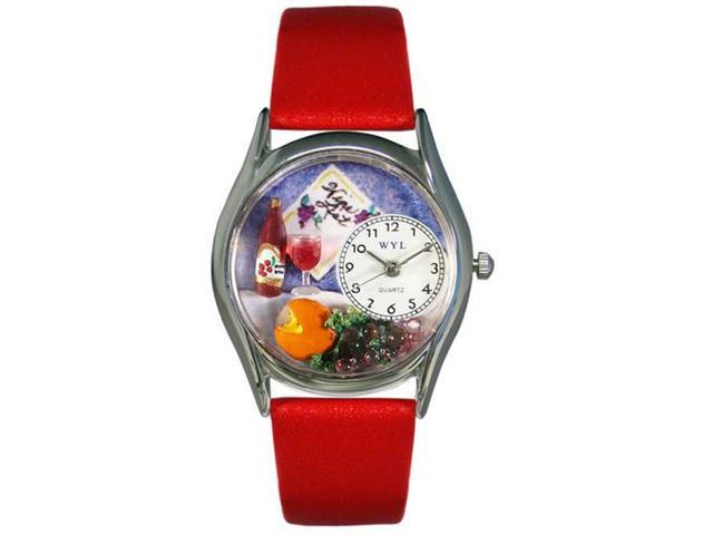 Whimsical Watches S0310004 Wine & Cheese Red Leather And Silvertone Watch