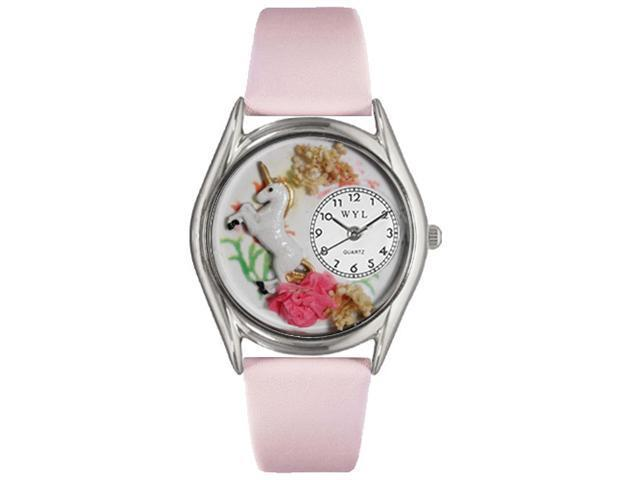 Whimsical Watches S0420001 Unicorn Pink Leather And Silvertone Watch
