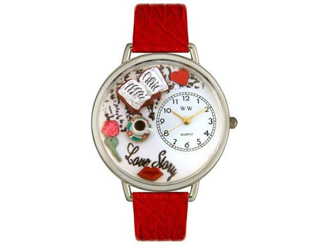 Whimsical Watches U0460003 Love Story Red Leather And Silvertone Watch