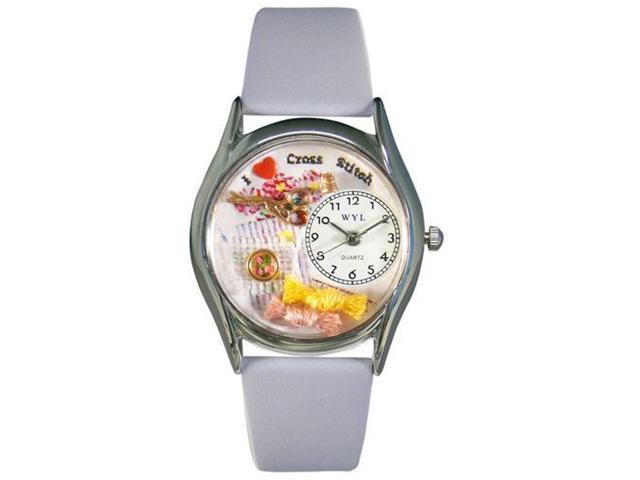Whimsical Watches S0440009 Cross Stitch Baby Blue Leather And Silvertone Watch