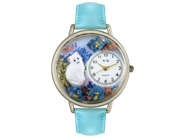 Whimsical Watches U0120014 White Cat Baby Blue Leather And Silvertone Watch