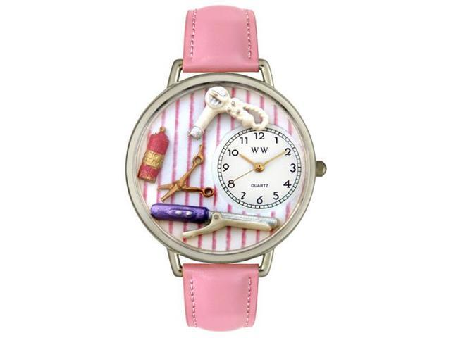 Whimsical Watches U0630001 Beautician Female Pink Leather And Silvertone Watch