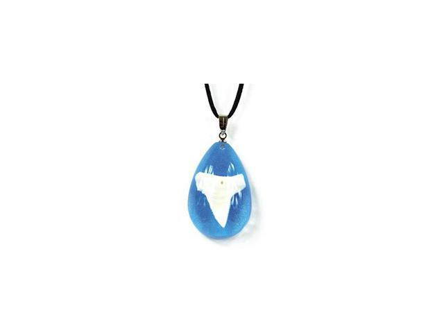 Ed Speldy East OP801 Tear Drop Necklace with Real Shark Tooth with Clear Blue  in Acrylic