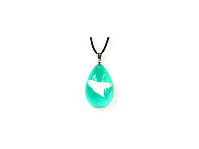 Ed Speldy East OP803 Tear Drop Necklace with Real Shark Tooth with Green in Acrylic