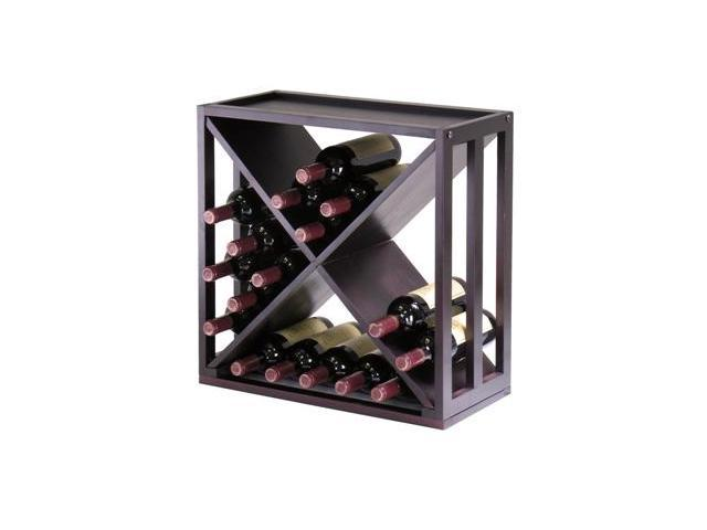Winsome 92104 Kingston Modular Stackable X Wine Cubby - Holds 24 Bottles - Espresso