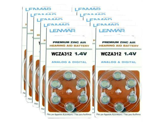 Lenmar Hza312-60 Za312 Premium Zinc Air Hearing Aid Batteries- 60 Pk