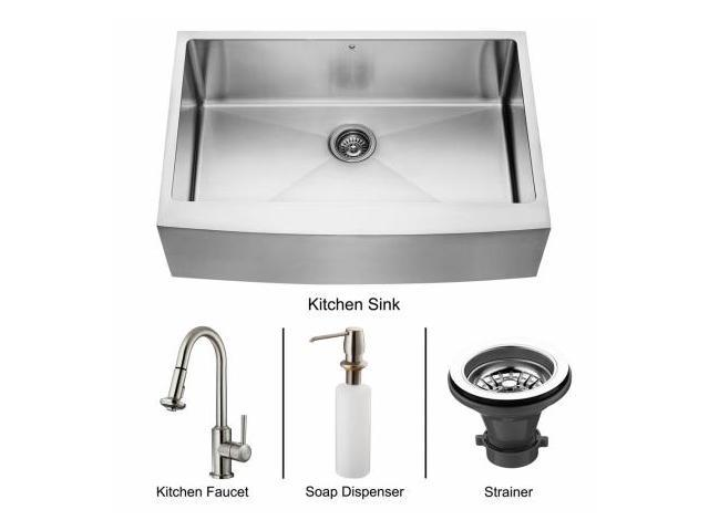 Vigo VG15094 Farmhouse Stainless Steel Kitchen Sink, Faucet, Strainer and Dispenser