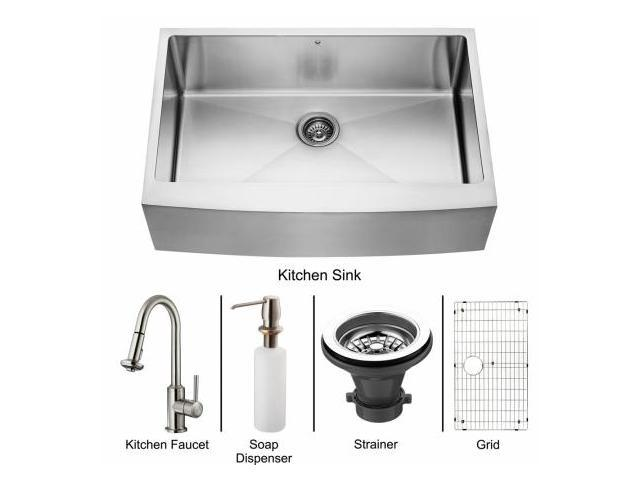 Vigo VG15095 Farmhouse Stainless Steel Kitchen Sink, Faucet, Grid, Strainer and Dispenser