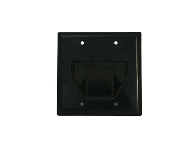 CMPLE 514-N Wall Plate- 2-Gang Recessed Low Voltage Cable- Black
