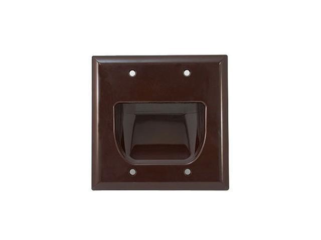 CMPLE 515-N Wall Plate- 2-Gang Recessed Low Voltage Cable- Brown