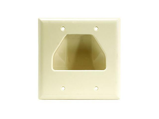 CMPLE 516-N Wall Plate- 2-Gang Recessed Low Voltage Cable- Ivory