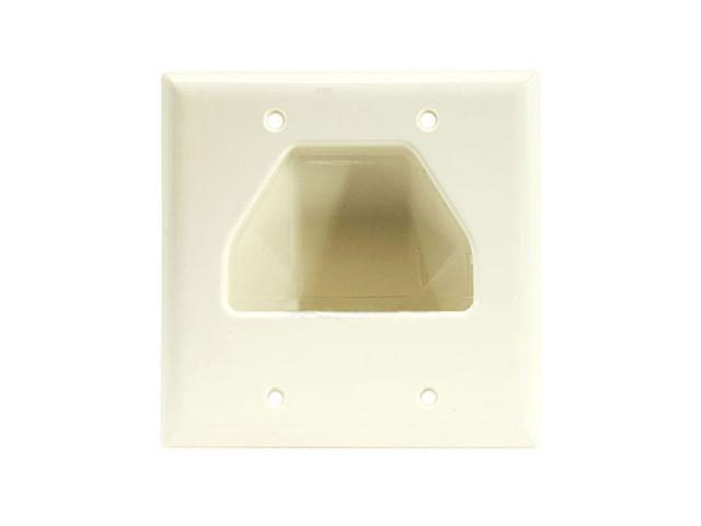 CMPLE 517-N Wall Plate- 2-Gang Recessed Low Voltage Cable- Lite Almond