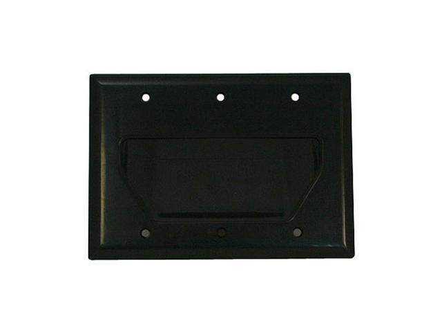 CMPLE 519-N Wall Plate- 3-Gang Recessed Low Voltage Cable- Black