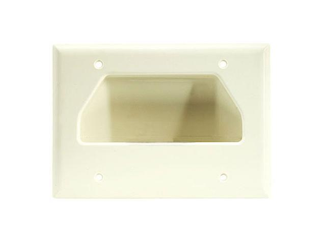 CMPLE 520-N Wall Plate- 3-Gang Recessed Low Voltage Cable- Lite Almond