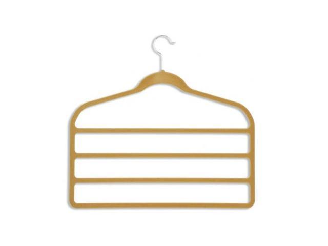 Honey Can Do HNGZ01943 10 Pack Velvet Touch 4-step pant hanger- Camel