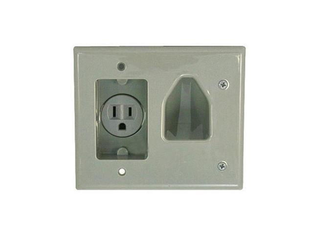 CMPLE 522-N Wall plate- Recessed Low Voltage Cable Wall Plate WITH Recessed Power- Gray