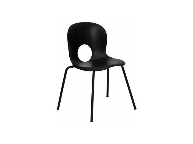 Flash Furniture HERCULES Series 770 lb. Capacity Designer Black Plastic Stack Chair with Black Powder Coated Frame Finish