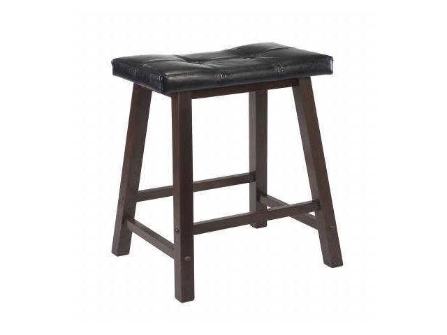 WinsomeTrading 94064 29 in. Cushion Saddle Seat Stool, Black Faux Leather, Wood Legs, RTA - Antique Walnut