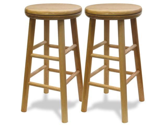 Winsome 88824 Beech Beechwood BAR STOOL 24 Inch ASSEM SWIVEL SEAT - Set of 2