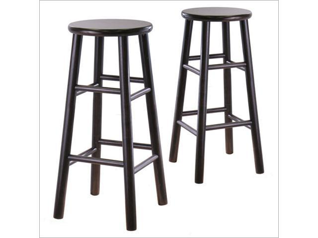 "Winsome 92780 2-Piece 29"" Bevel Wood Stools (Espresso)"