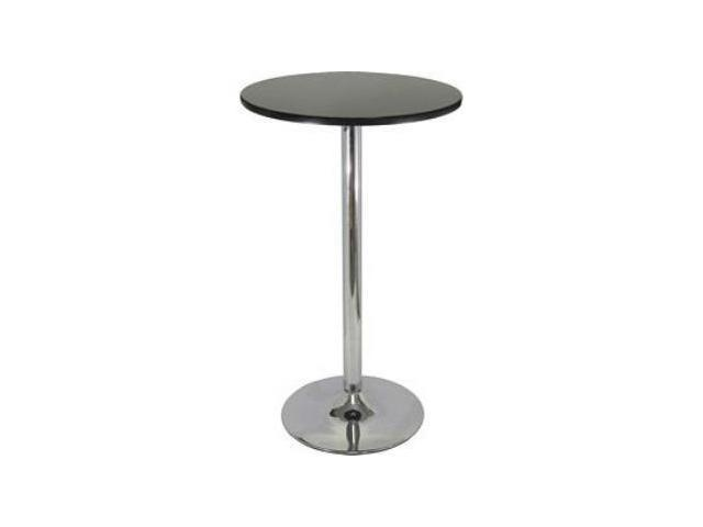 Winsome  93624 Pub Table - Black with Chrome MDF Top Iron Base Black Top Metal Leg
