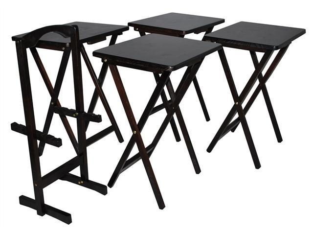 Yu Shan CO USA Ltd 660-44 Stain finish 5pcs Tray table set, Espresso