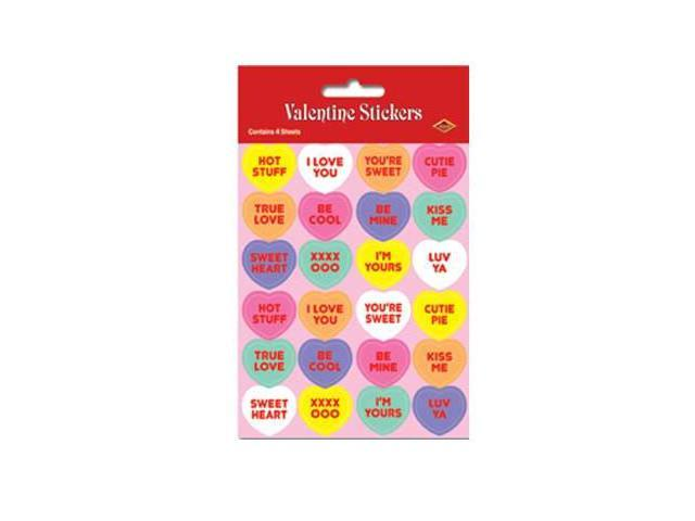 Beistle - 74005 - Candy Heart Stickers- Pack of 12