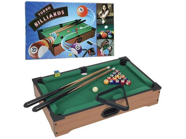 Mini Table Top Pool Table With Cues- Triangle And Chalk
