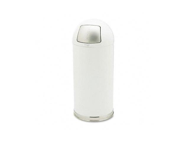 Rubbermaid Commercial R1536EGLW Fire-Resistant Dome Receptacle- Round- Steel- 15 gal- White