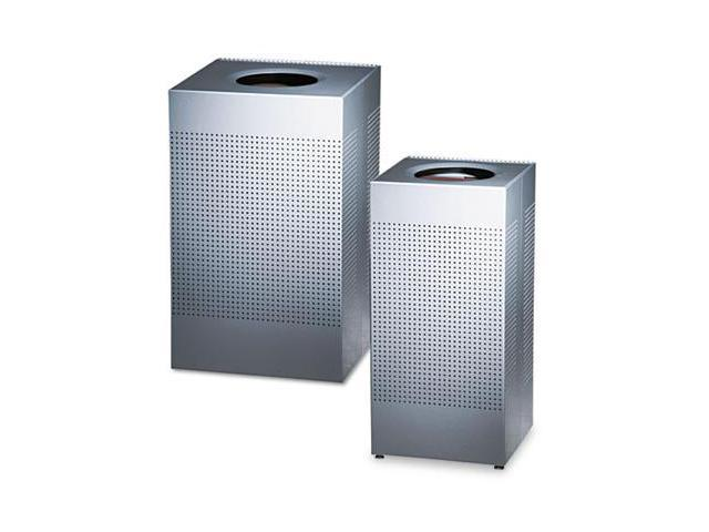 Rubbermaid Commercial SC14EPLSM Designer Line Silhouettes Receptacle- Steel- 16 gal- Silver Metallic