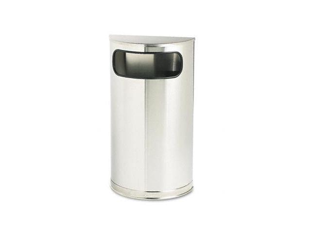 Rubbermaid Commercial SO8SSSPL European & Metallic Series Receptacle- Half-Round- 9 gal- Satin Stainless