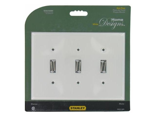 Stanley Hardware White Triple Switch Wall Plate With Screws  832949