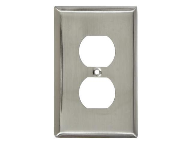 Stanley Hardware Satin Nickel Single Duplex Outlet Plate  806067 - Pack of 5